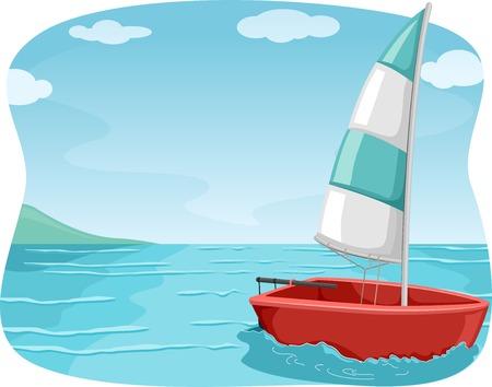 Illustration eines Segelboot-Segeln im Ozean Standard-Bild - 29976035