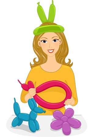 Illustration of a Girl Twisting Balloons into Different Shapes