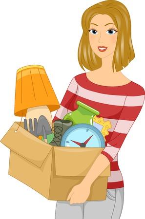 spring out: Ilustraci�n de una chica que lleva una caja llena de objetos