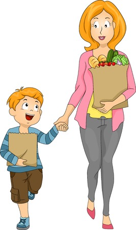 kid shopping: Illustration of a Mother and Son Carrying Bags of Groceries Illustration