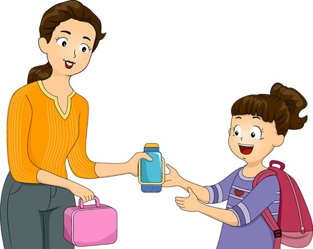 packed: Illustration of a Mother Giving Her Daughter Her Packed Lunch