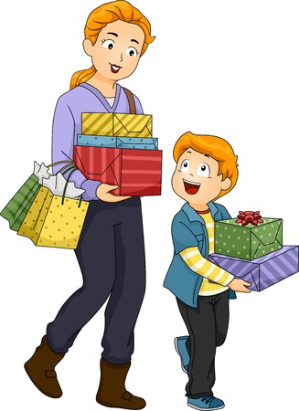 kid shopping: Illustration of a Mother and Son Shopping for Gifts Illustration