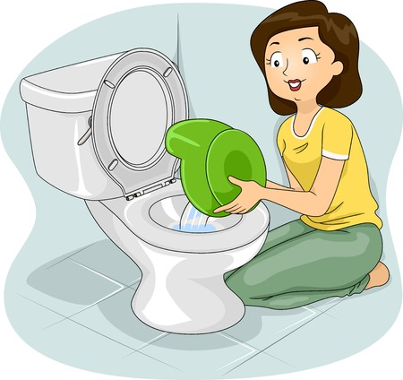 potty: Illustration of a Mother Flushing the Contents of a Potty to a Toilet Bowl