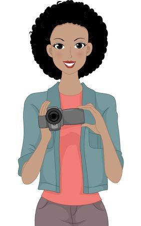 Illustration of a Girl Holding a Video Camera Illustration