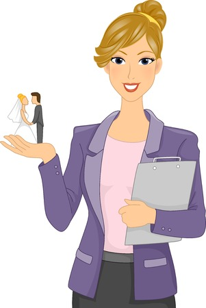 marriage cartoon: Illustration of a Wedding Planner Holding a Bride and Groom Figurine