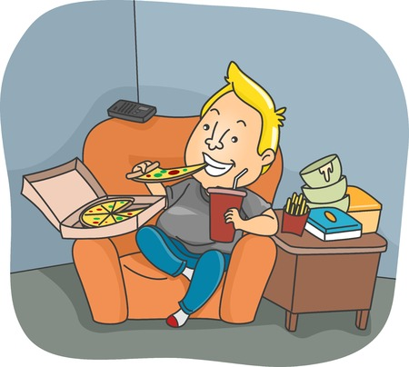 couch potato: Illustration of a Man Binge Eating