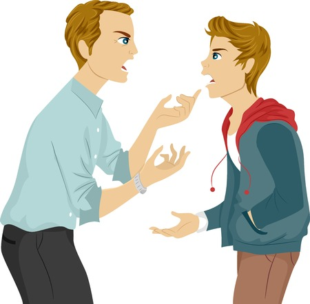 angst: Illustration of a Father and Son Arguing