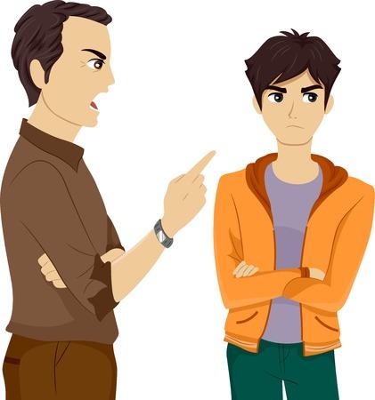 彼の息子を叱る父のイラスト  イラスト・ベクター素材