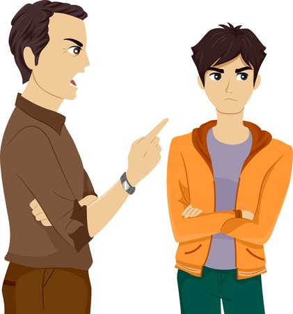 Illustration of a Father Scolding His Son