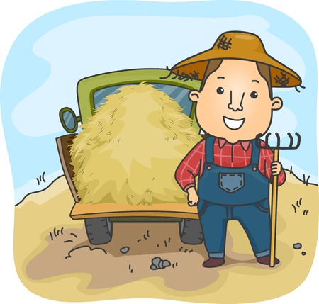 truckload: Illustration of a Farmer Standing Beside a Truckload of Hay