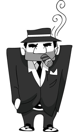 thug: Illustration of a Mafia Man Smoking a Cigar