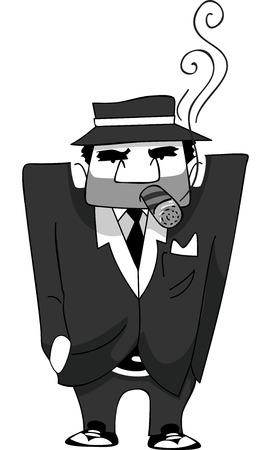 hombre fumando puro: Ilustración de un hombre de la mafia que fuma un cigarro Vectores