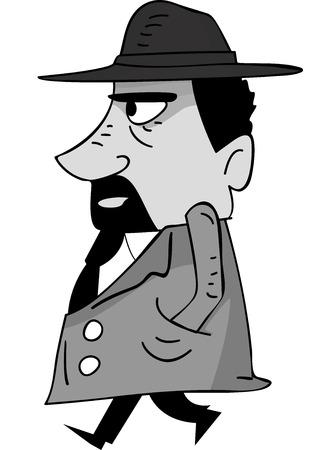 organized crime: Side View Illustration of a Mafia Member Walking
