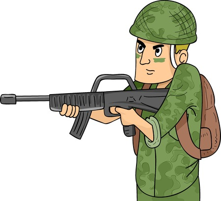 paramilitary: Illustration of a Soldier in Camouflage Uniform Wielding a Machine Gun