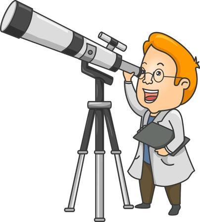 Ilustración de un Investigador Utilizando un rango Telescopio Largo