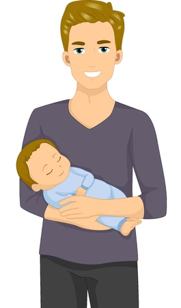 Illustration of a Man Holding a Sleeping Baby Vector