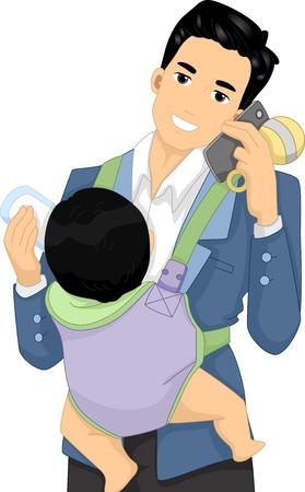 Illustration der ein Vater am Telefon spricht, während die Betreuung sein Baby Vektorgrafik