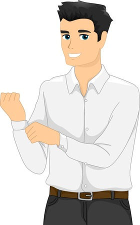 Illustration of a Man Buttoning the Cuff of His Long-Sleeved Shirt