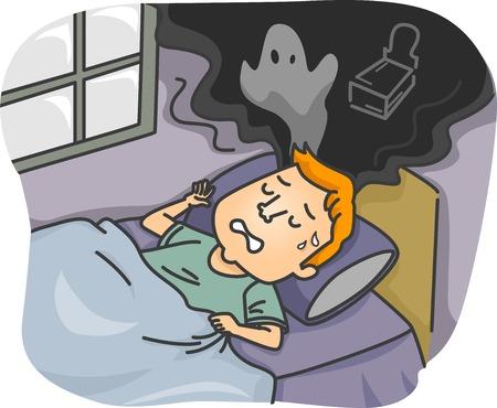 nightmare: Illustration of a Man Having a Nightmare Illustration