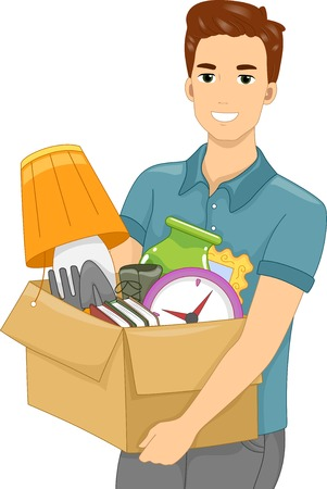 moving out: Illustration of a Guy Carrying a Box Full of Objects