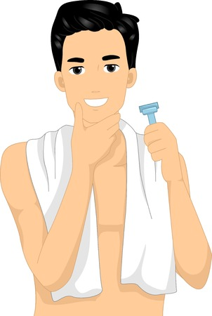 shaving: Illustration of a Man Checking His Face After Shaving