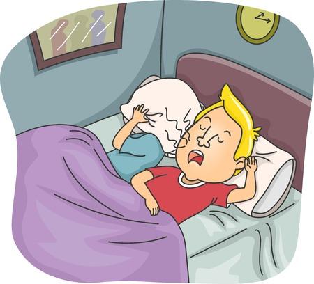 Illustratie van een geïrriteerde Vrouw die haar oren terwijl haar man snurkt Vector Illustratie