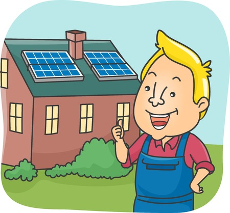 installer: Illustration of a Man Standing in Front of a House Equipped with Solar Panels Illustration