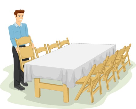informal: Illustration of a Man Setting Up the Table for an Informal Dinner
