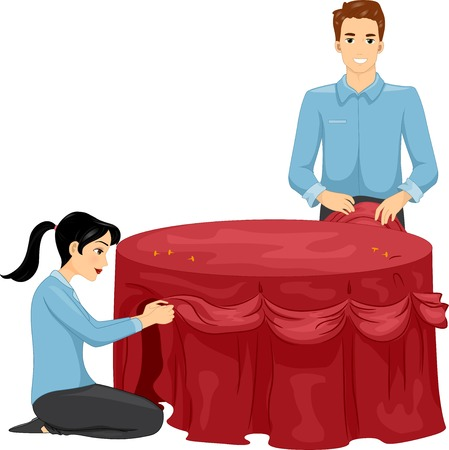 event planning: Illustration of a Man and a Woman Decorating a Table Illustration