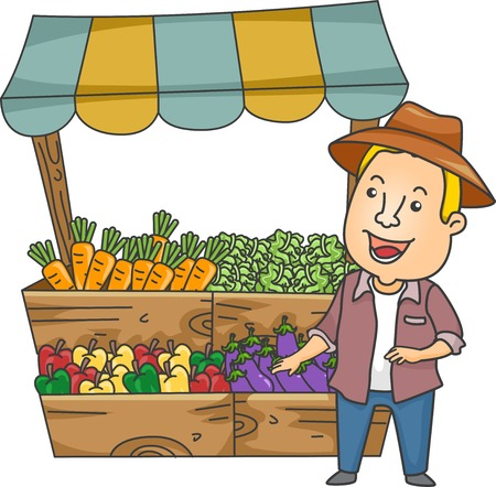 Illustration of a Man Standing Beside a Vegetable Stand