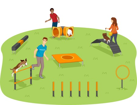 obstacle course: Illustration of Pet Owners Testing Their Dogs Agility in the Park