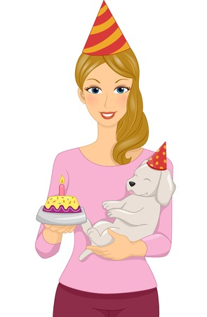 adult birthday party: Illustration of a Woman Celebrating the Birthday of Her Pet Dog