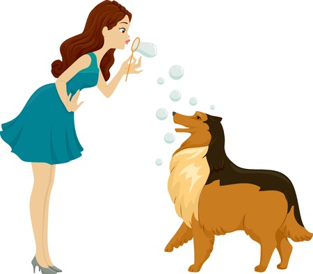 collie: Illustration of a Woman Playing with Bubbles with Her Pet Dog