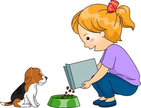 그녀의 강아지를 먹이 작은 소녀의 그림 일러스트