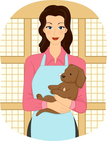 cradling: Illustration Featuring a Female Pet Shop Attendant Cradling a Puppy