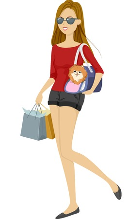 Illustration of a Girl Taking Her Dog on a Shopping Playdate Vector