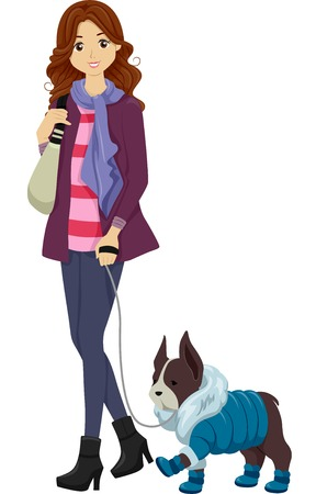 dog walk: Illustration of a Woman in Winter Clothes Taking Her Similarly Dressed Dog for a Walk