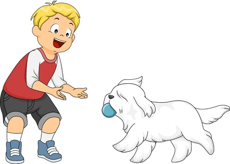 young animal: Illustration of a Little Boy Playing Fetch with His Dog