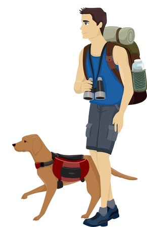 Illustration of a Man and His Pet Dog Hiking