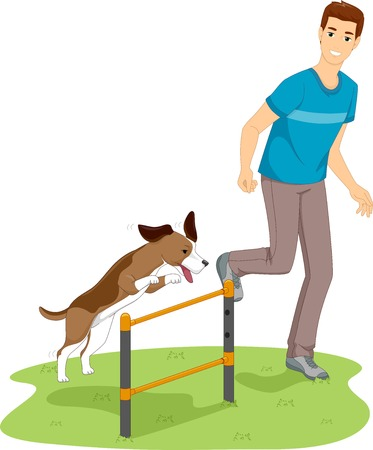 show dog: Illustration of a Man Testing His Dogs Agility with a Jump Bar