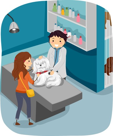 check up: Illustration of a Woman Taking Her Dog to the Veterinarian for a Check Up Illustration