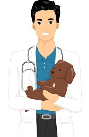cradling: Illustration of a Man Cradling a Puppy