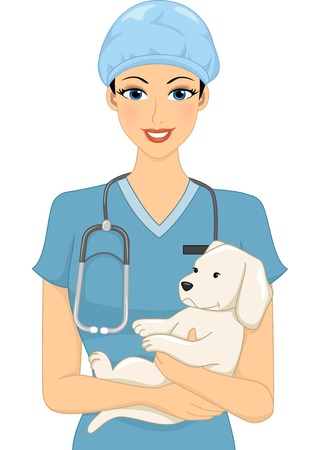 Illustration of a Female Veterinarian Cradling a Dog Vector