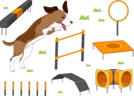 Ilustración con diferentes objetos utilizados en entrenamiento de la agilidad para perros Foto de archivo - 30121538