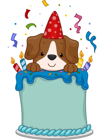 Illustration of a Cute Dog Sitting on a Birthday Cake Illustration