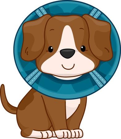 elizabethan: Illustration of a Cute Dog Wearing an Elizabethan Collar