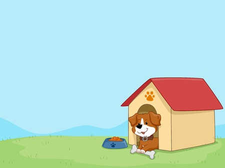 Background Illustration Featuring a Cute Little Dog Sitting in His Dog House Vector