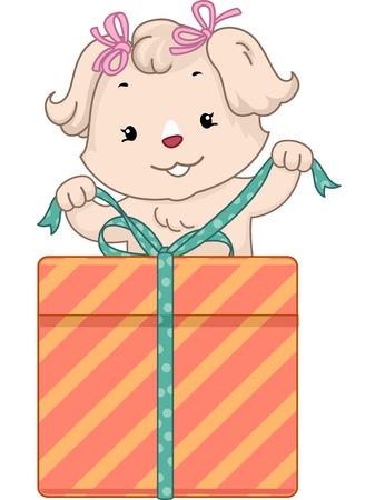 cadeau anniversaire: Illustration d'un chien mignon un cadeau d'anniversaire d'ouverture Illustration
