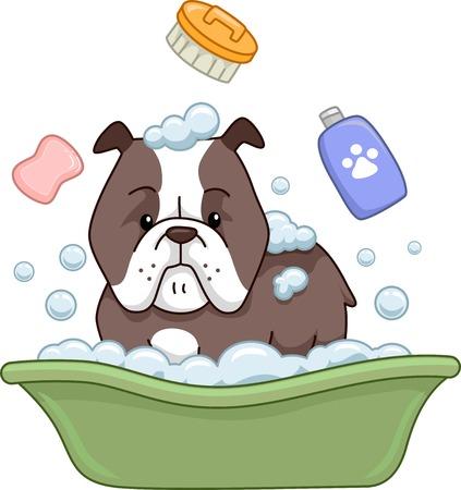 bath time: Illustration of a Pit Bull Taking a Bath