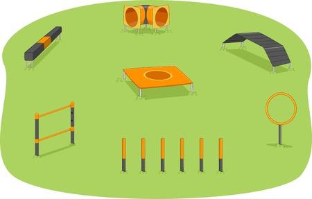 Illustration d'un parc où la formation d'agilité pour les chiens est habituellement tenu